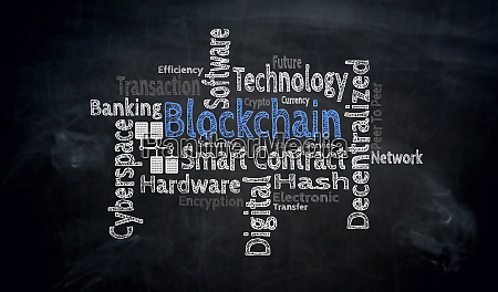 blockchain wordcloud on blackboard concept