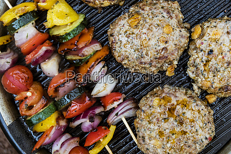 food on a barbeque vegetable kebabs