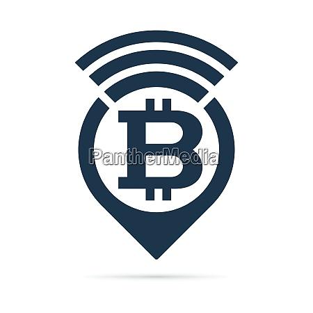 bitcoin symbol address pin icon with