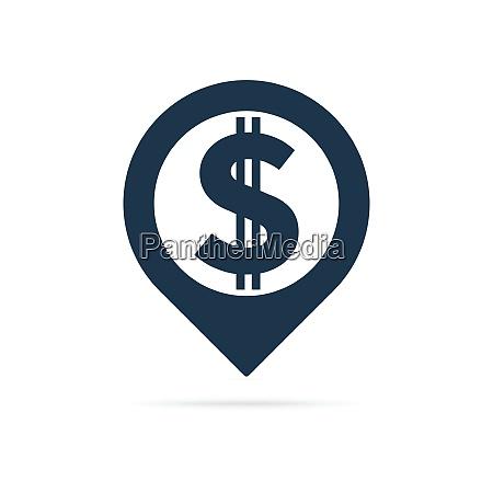 dollar sign address pin icon
