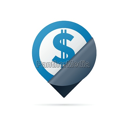 dollar sign address pin icon with