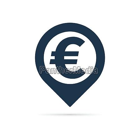 euro symbol address pin icon
