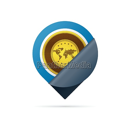 gold address pin icon with coating