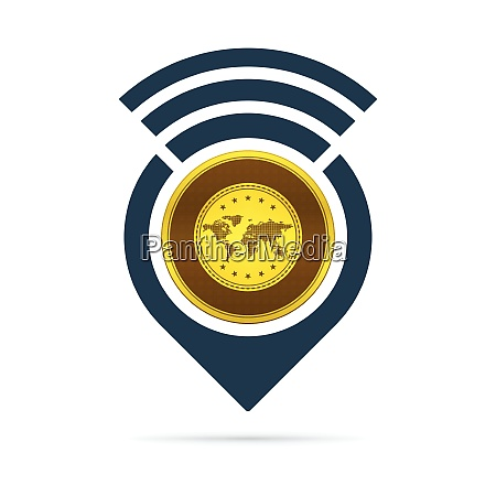 gold address pin icon with radio