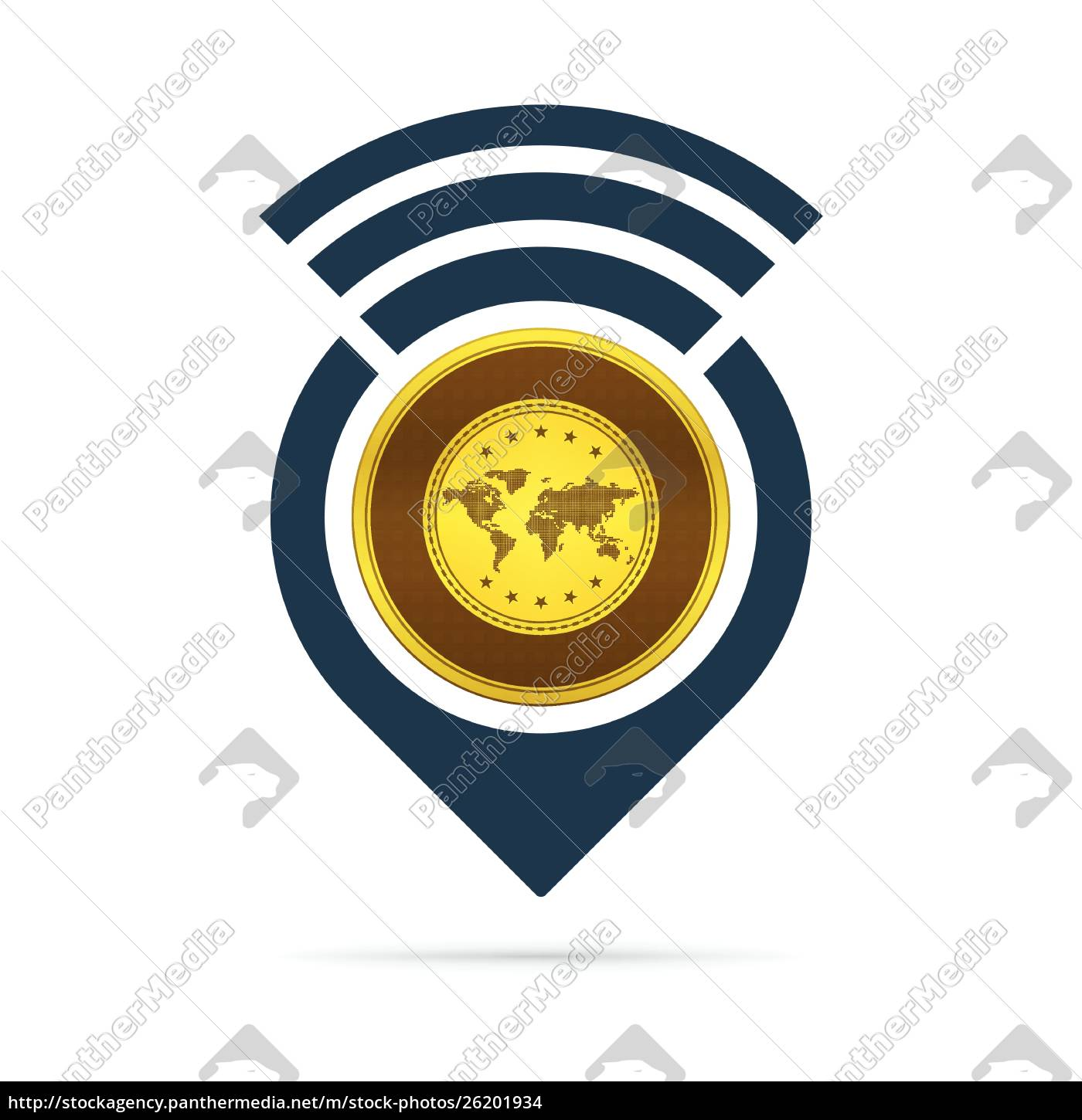 gold, , address, pin, icon, with, radio - 26201934