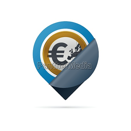 gold, colored, euro, symbol, , address, pin - 26201929