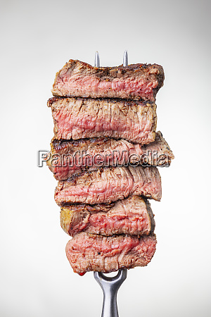slices of a steak on a