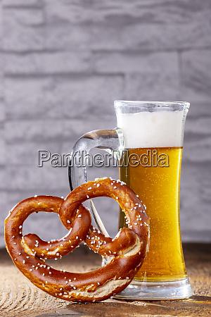 bavarian beer and a pretzel