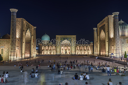 registan square at night with imposing