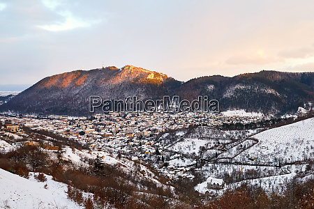 brasov city covered in snow from