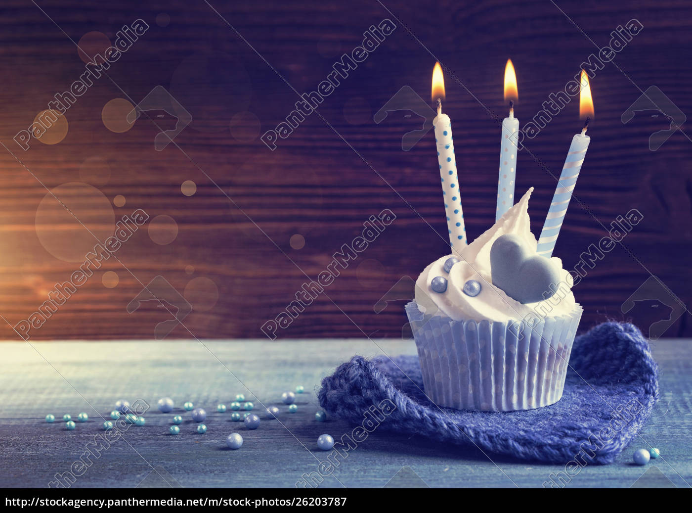 cupcake, with, a, blue, candles - 26203787