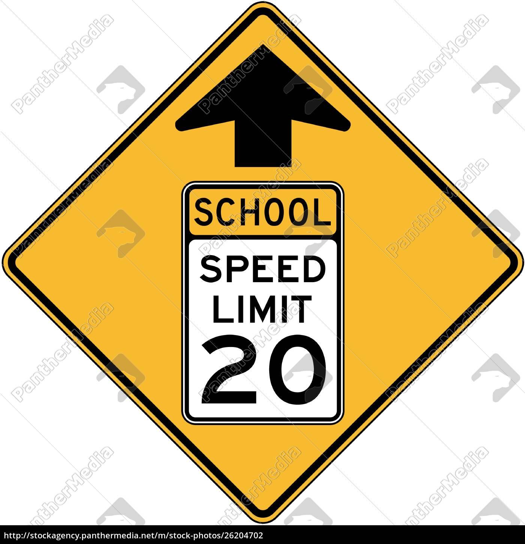 reduced, speed, school, zone, ahead - 26204702