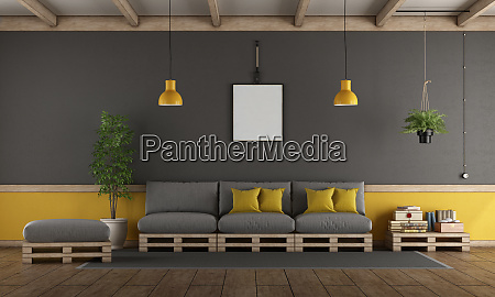 gray and yellow living room with