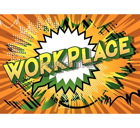 workplace comic book style words