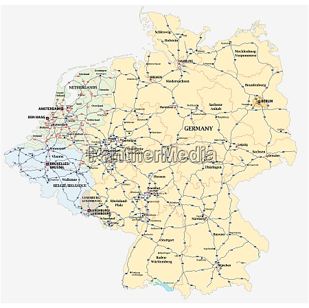 motorway vector map of germany and