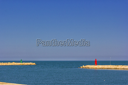 trani green lighthouse and red lighthouse