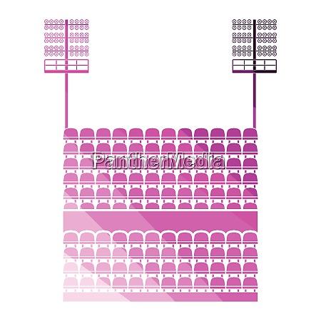 stadium tribune with seats and light