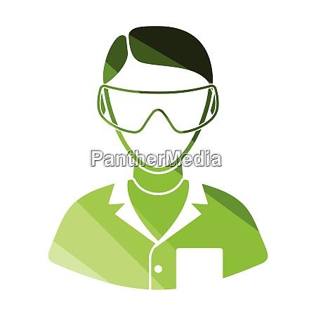 icon of chemist in eyewear icon