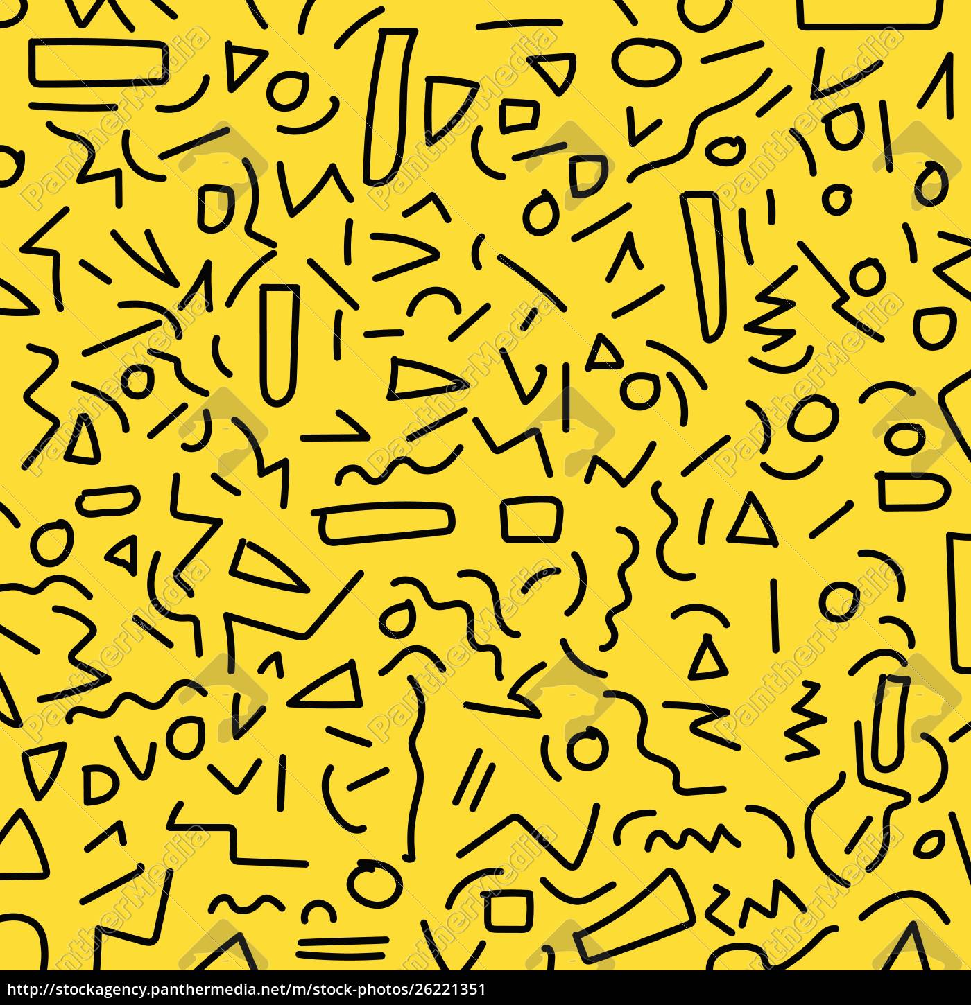 royalty free vector 26221351 - Hand draw black geometric memphis pattern 80  rsquo s 90 rsquo