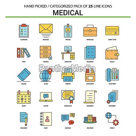 medical flat line icon set