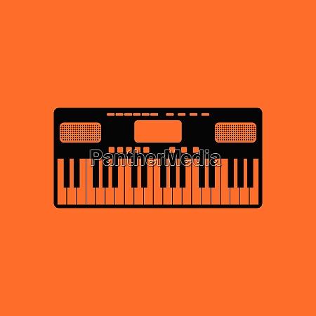 music synthesizer icon orange background with