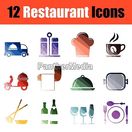 set of restaurant icons gradient color