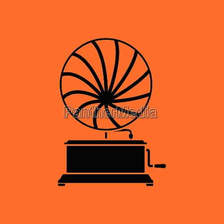 gramophone icon orange background with black