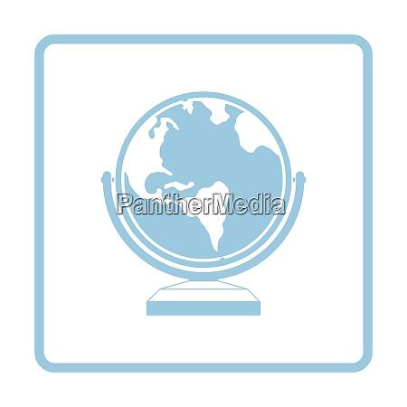 globe icon blue frame design vector