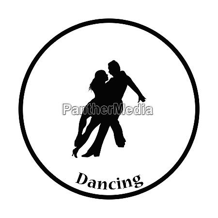 dancing pair icon thin circle design