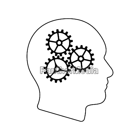 icon of brainstorm thin line design