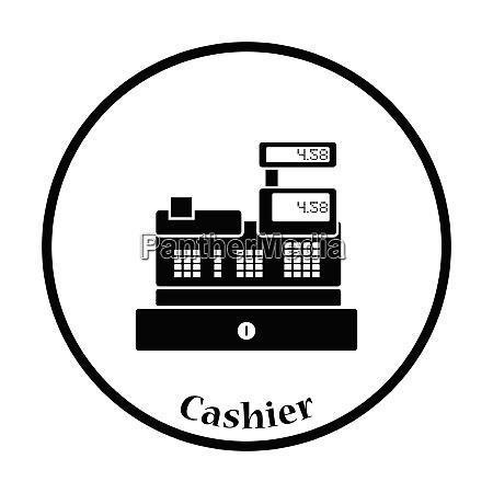 cashier icon thin circle design vector
