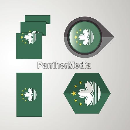 macau flag design set vector
