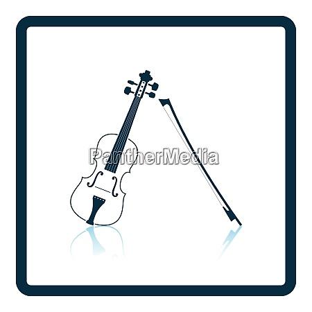 violin icon shadow reflection design vector