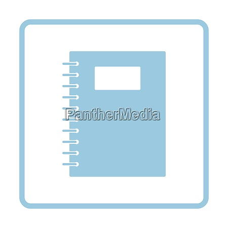 exercise book with pen icon blue