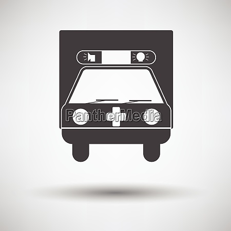 ambulance car icon on gray background