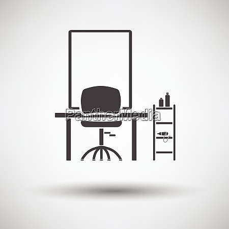 barbershop icon on gray background round