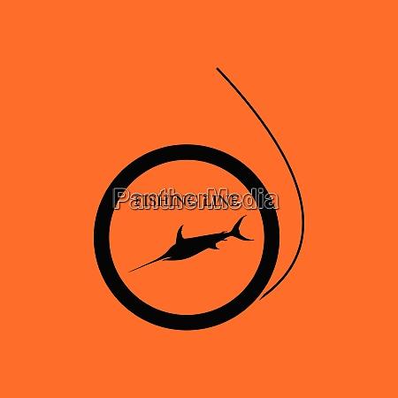 icon of fishing line orange background