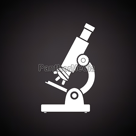 school microscope icon black background with