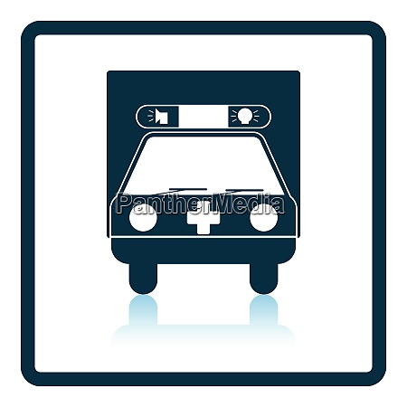 ambulance car icon shadow reflection design