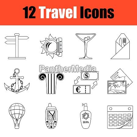 travel icon set thin line design
