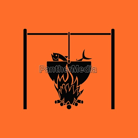 icon, of, fire, and, fishing, pot. - 26231719