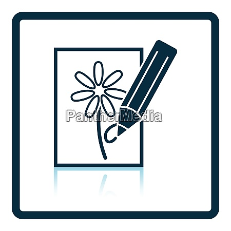 icon of sketch with pencil shadow