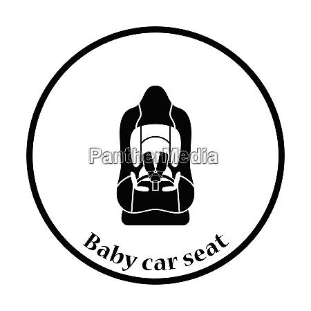 baby car seat icon thin circle