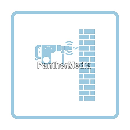 icon of perforator drilling wall blue