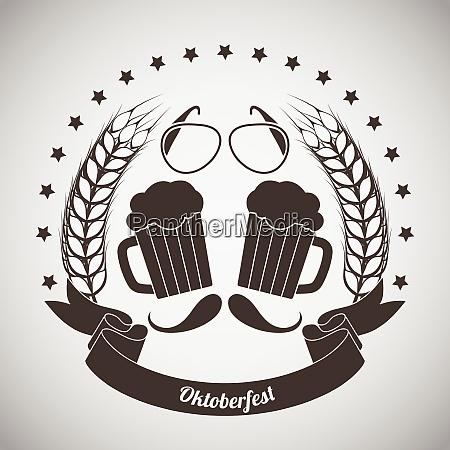 oktoberfest vintage emblem dark brown over