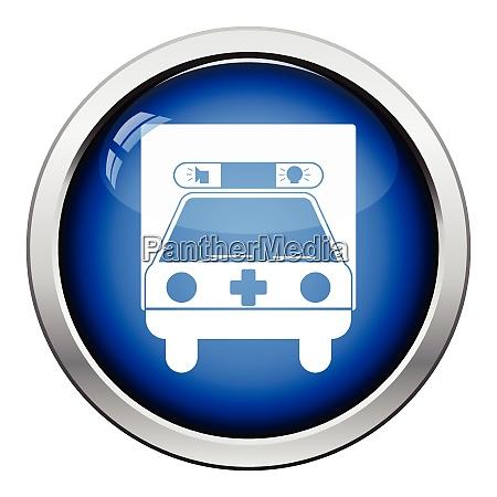 ambulance car icon glossy button design