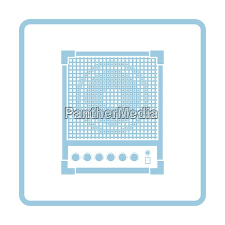 audio monitor icon blue frame design