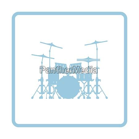 drum set icon blue frame design