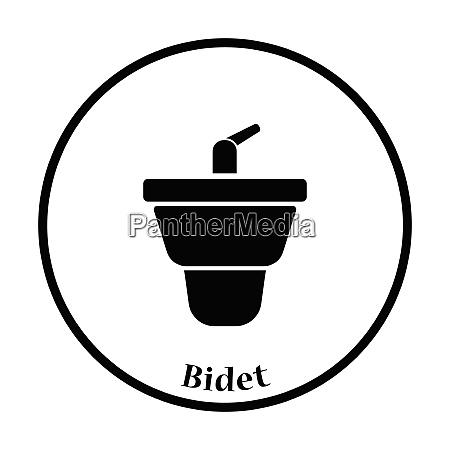 bidet icon thin circle design vector