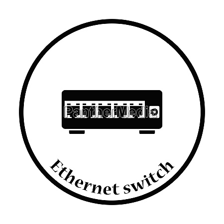 ethernet switch icon flat color design